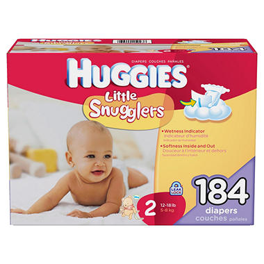 Huggies Little Snugglers Diapers, Size 2 (12-18 lbs.), 184 ct.