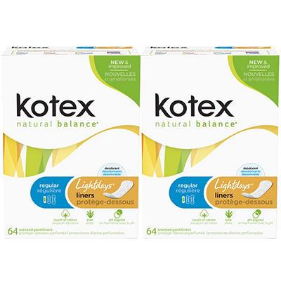 Kotex Natural Balance Lightdays Regular Pantiliners - 64 ct. - 2 pk.