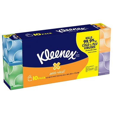 Kleenex Anti-Viral Facial Tissue, (10pk., 68 Sheets)