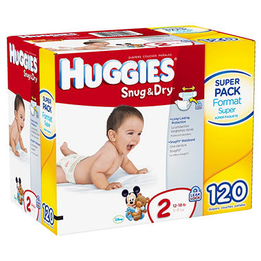 Huggies Snug & Dry Diapers, Step 2 (12-18 lbs.), 120 ct.