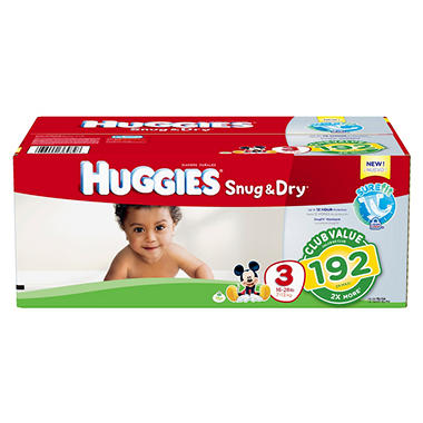 Huggies Snug & Dry Diapers, Step 3 (16 - 28 lbs.), 192 ct.