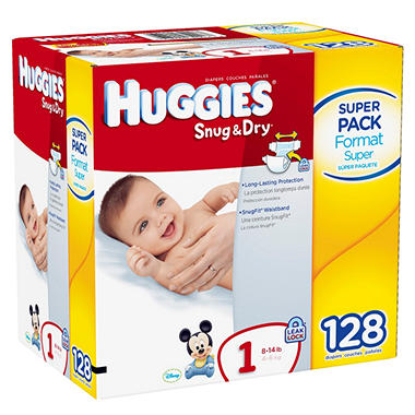 Huggies Snug & Dry Diapers, Size 1 (Up to 14 lbs.), 128 ct.