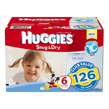 Huggies Snug & Dry Diapers, Size 6 (35+ lbs.), 126 ct.