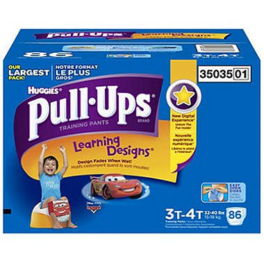 Huggies Pull-Ups Training Pants for Boys, Size 3T-4T (32-40 lbs.), 86 ct.