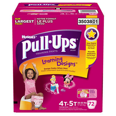 Huggies Pull-Ups Training Pants for Girls, Size 4T-5T (38+ lbs.), 72 ct.
