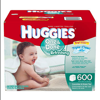 Huggies One & Done Refreshing Baby Wipes, 600 ct.