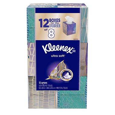 Kleenex Ultra Soft Facial Tissues, (75 Tissues, 12 pk.)