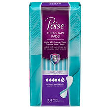 Poise Thin-Shape Pads, Ultimate Absorbency, Regular Length (132 ct.)