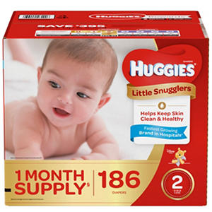 Huggies Little Snugglers Diapers, Size 2, 12-18 lbs. (186 ct.)
