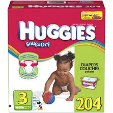 Huggies Snug 'n Dry Diapers, Step 3 (16-28 lbs.), 204 ct.