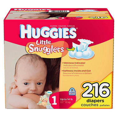 Huggies Little Snugglers Diapers, Size 1 (up to 14 lbs.), 216 ct.
