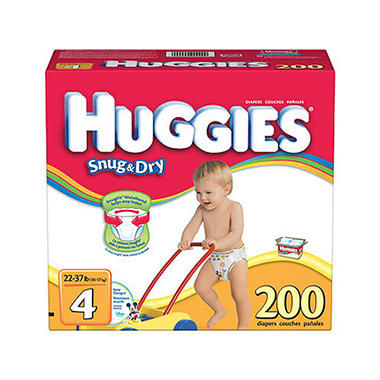 Huggies Snug 'n Dry Diapers, Size 4 (22-37 lbs.), 200 ct.
