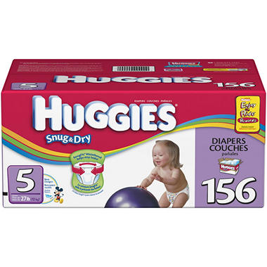 Huggies Snug & Dry Diapers, Step 5 (over 27 lbs.), 156 ct.