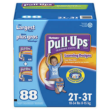 Huggies Pull-Ups Training Pants for Boys, Size 2T-3T (18-34lbs.), 88 ct.