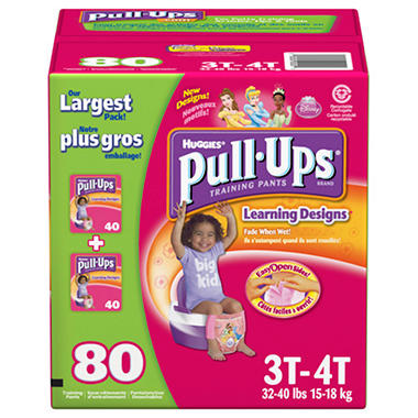 Huggies Pull-Ups Training Pants for Girls, Size 3T-4T (32-40 lbs.), 80 ct.