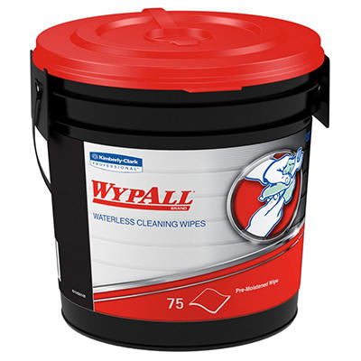 Wypall Waterless Hand Wipes, Cloth, 10 1/2 x 12 1/4, 75/Bucket -  6 Buckets/Carton
