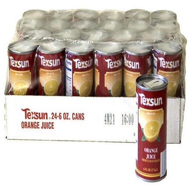 Texsun® 100% Orange Juice - 24/6 oz. cans