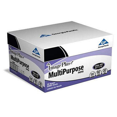 GP - Image Plus, Multipurpose Paper, 20 lb., 92 Brightness, 8-1/2? x 14?, 10 Reams - 5,000 Sheets