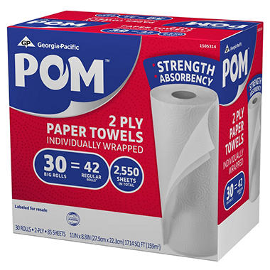 POM - Paper Towels - 2-Ply - 85 Sheets - 30 Rolls