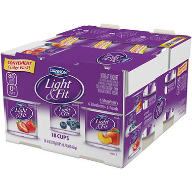 Dannon Light & Fit Nonfat Yogurt Variety Pack (6 oz. ea., 18 ct.)
