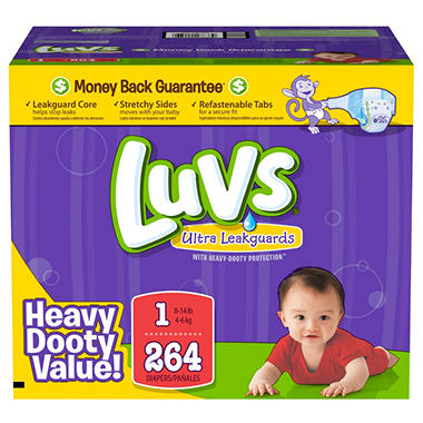 D - Luvs Ultra Leakguard Diapers, Size 1 (8-14 lbs), 264 ct.
