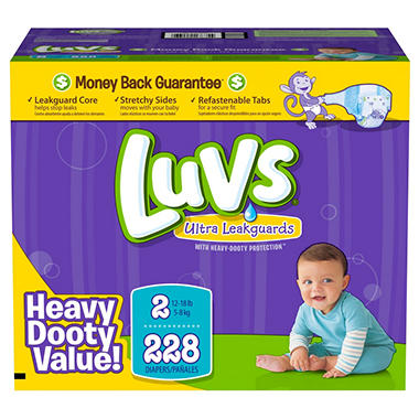 D -Luvs Ultra Leakguard Diapers, Size 2 (12-18 lbs), 228 ct.