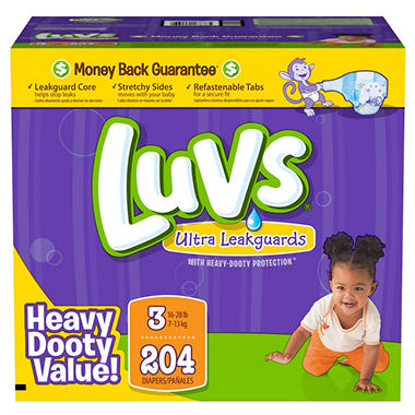 Luvs Ultra Leakguard Diapers, Size 3 (16-28 lbs.), 204 ct.