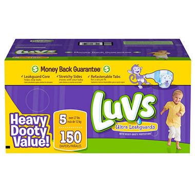 Luvs Ultra Leakguard Diapers, Size 5 (27+ lbs.), 150 ct.