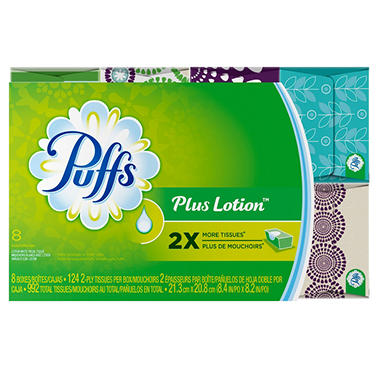 Puffs Plus Lotion Facial Tissue - 8 boxes - 124 ct. each