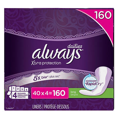 Always Xtra Protection Daily Liners, Long (160 ct.)