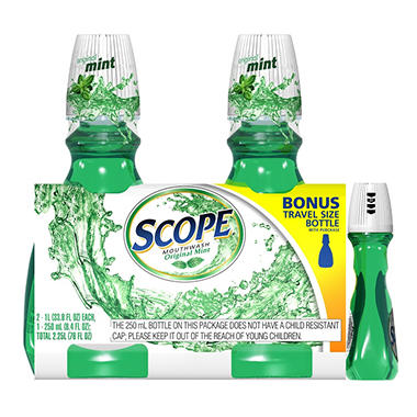 Scope Mouthwash - 2 / 1L + Bonus 8.4 oz. Travel Size