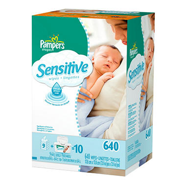 Pampers Soft Care Sensitive Baby Wipe Refills, 640 ct.