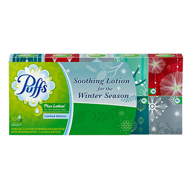 Puffs Plus Holiday Cube - 10 Boxes - 56 ct.