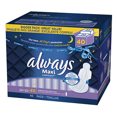Always Maxi Extra Heavy Overnight Pads with Wings - 40 ct.