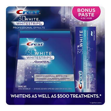 Crest 3D Whitestrips, 20 Pouches - Bonus 4 oz. Toothpaste