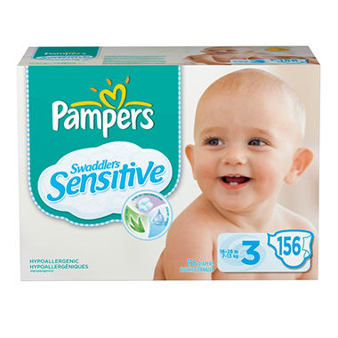 Pampers Swaddlers Sensitive Diapers, Size 3 (16-28 lbs.), 156 ct.