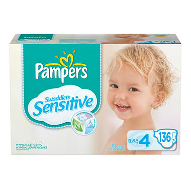 Pampers Swaddlers Sensitive Diapers, Size 4 (22-37 lbs.), 136 ct.