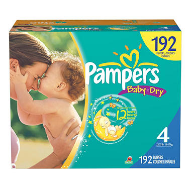 Pampers Baby Dry Diapers, Size 4 (22-37 lbs.), 192 ct.