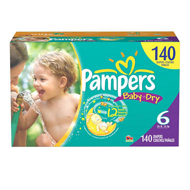 Pampers Baby Dry Diapers, Size 6 (35+ lbs.), 140 ct.