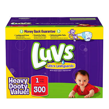 Luvs Ultra Leakguard Diapers, Size 1 (8-14 lbs.), 300 ct.