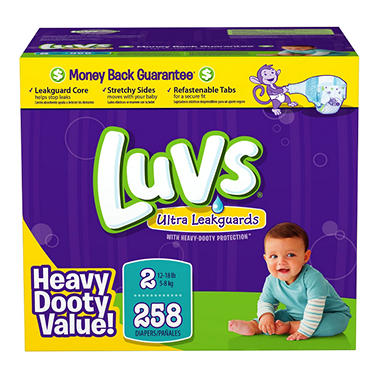 Luvs Ultra Leakguard Diapers, Size 2 (12-18 lbs.), 258 ct.