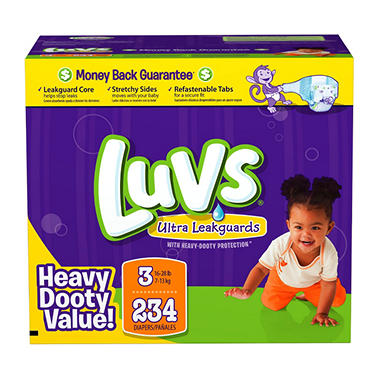 Luvs Ultra Leakguard Diapers, Size 3 (16-28 lbs.), 234 ct.