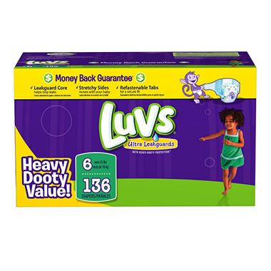 Luvs Ultra Leakguard Diapers, Size 6 (35+ lbs.), 136 ct.