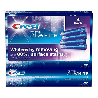Crest 3D White Vivid Radiant Mint Toothpaste - 7.6 oz. - 4 pk.