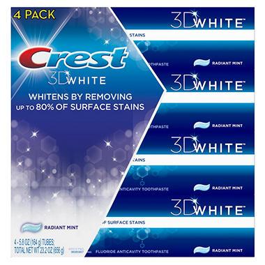 Crest 3D White Vivid Toothpaste - Radiant Mint  (5.8 oz. - 4 pk.)