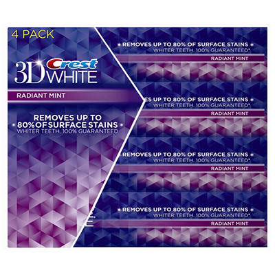 Crest 3D White Toothpaste - Radiant Mint - 4 pk.