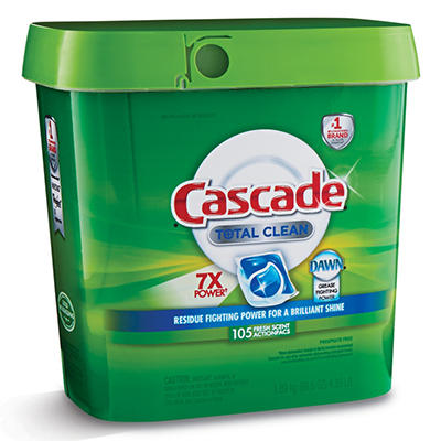 Cascade Total Clean Gel Dishwasher Detergent Pacs, Fresh Scent (105 ct.)