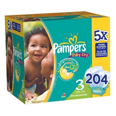 Pampers Baby Dry Diapers, Size 3 (16-28 lbs.), 204 ct.