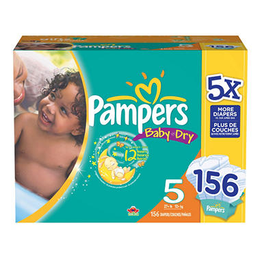 Pampers Baby Dry Diapers, Size 5 (27+ lbs.), 156 ct.