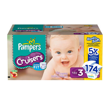 Pampers Cruisers Diapers, Size 3 (16-28 lbs.), 174 ct.